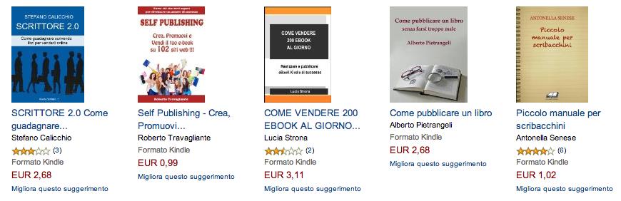 Alcuni titoli relativi al self-publishing su Amazon