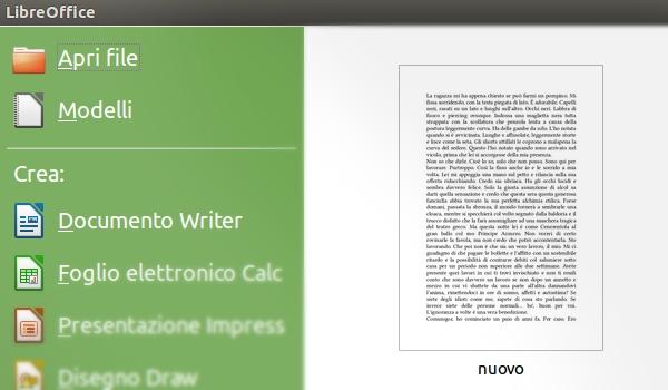 LibreOffice schermata di benvenuto