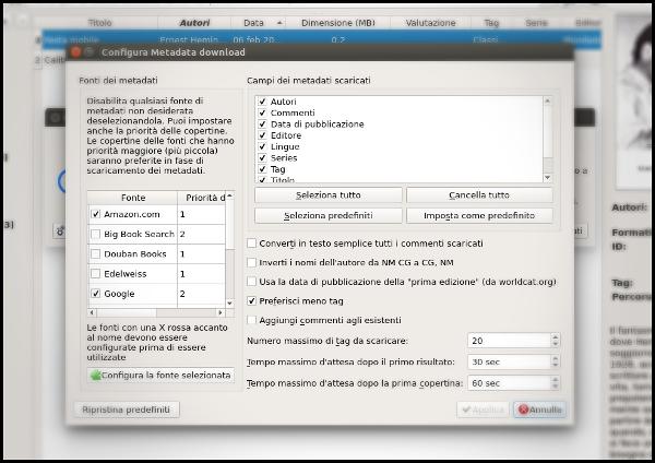 Calibre importare metadati